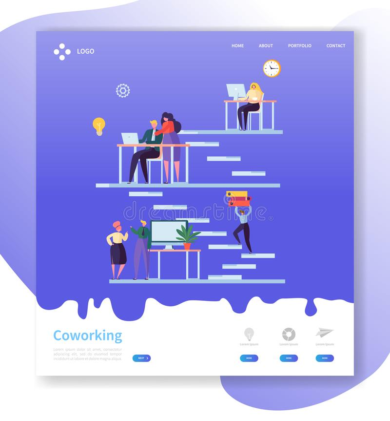 Coworking Team Work Landing Page Open Werkruimteconcept met Vlakke Mensenkarakters die Websitemalplaatje samenwerken royalty-vrije illustratie