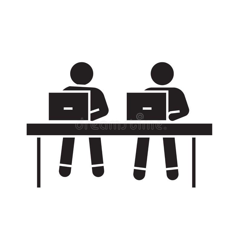 Coworking, trabajando en el icono negro del concepto del vector de los ordenadores portátiles Coworking, trabajando en el ejemplo ilustración del vector