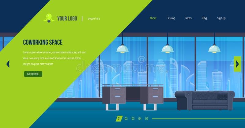 Coworking utrymme, inre av funktionsdugligt rum för kontor, idérik arbetsplats vektor illustrationer