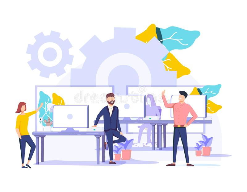 Coworking vector illustration. Stylized banner with people sharing office. Self directed, collaborative, flexible. And voluntary work style for hipsters and royalty free illustration