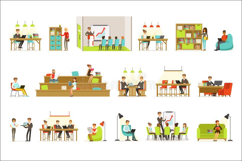 Coworking Workplace, Freelancers Sharing Space And Ideas In Office Where They Work Together Set Of Illustrations. Office Workers And Freelance Employees stock illustration