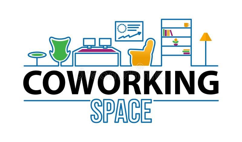 Coworking y logotipo de los espacios de oficina en un interior moderno L?nea icono del concepto de Coworking Ejemplo simple del e stock de ilustración
