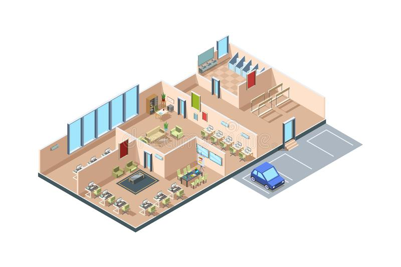 Coworking. Zone startup loft modern open space business office creative rooms with furniture vector isometric interior vector illustration