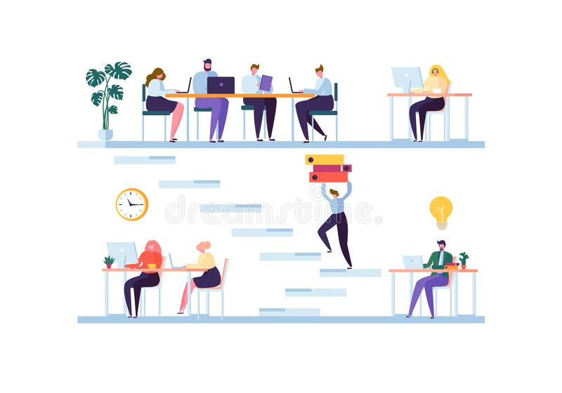 Coworkings ruimteconcept Medewerkerskarakters Team Working Bureauwerknemers die met Laptop en Computer werken stock illustratie