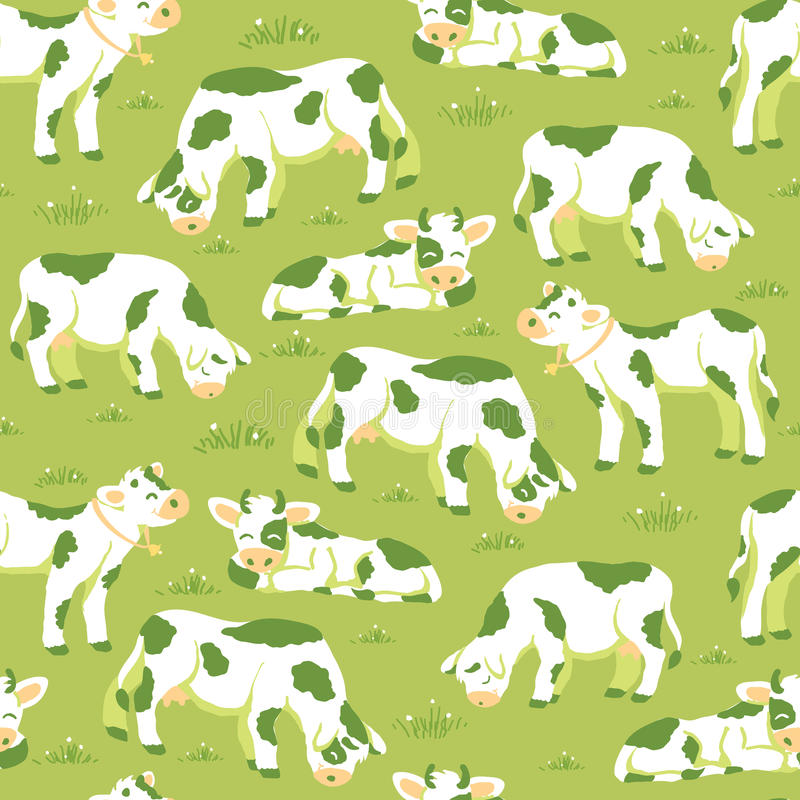 Cows on the field seamless pattern background royalty free illustration