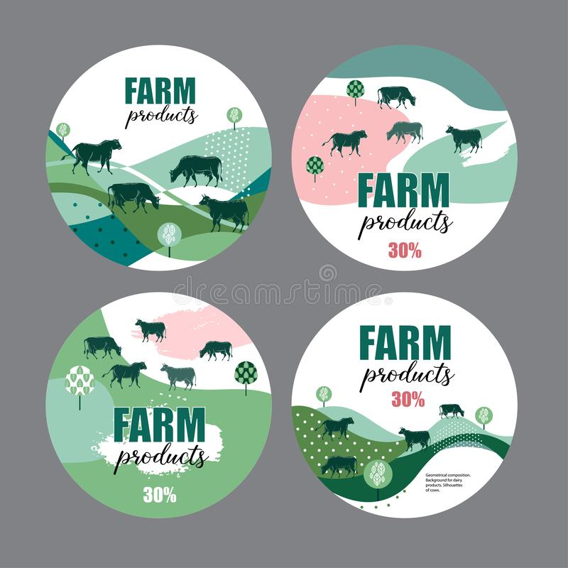 Cows graze in the meadow. Round background for design of agricultural products. Geometrical composition. royalty free illustration