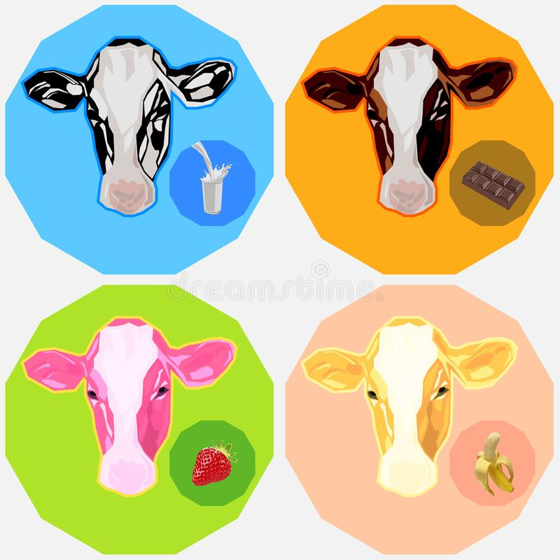 Cows_Milk Flavour_Full Cream_Chocolate_Strawberry_Banana_Icon Logo Avatar _v2 ilustración del vector