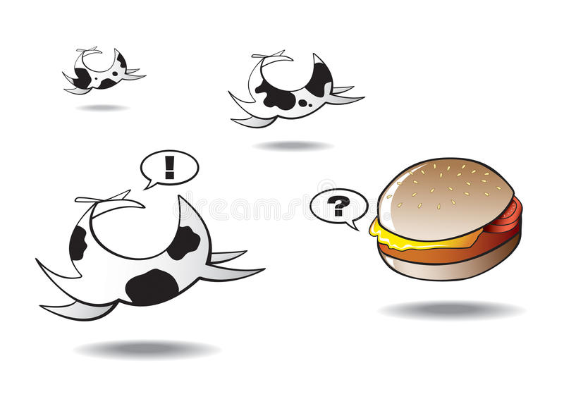 Download Cows Running Away From Lonely Hamburger Stock Vector - Image: 10694762