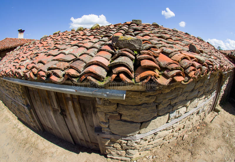 Cowshed in the Bulgarian mountain village stock photo