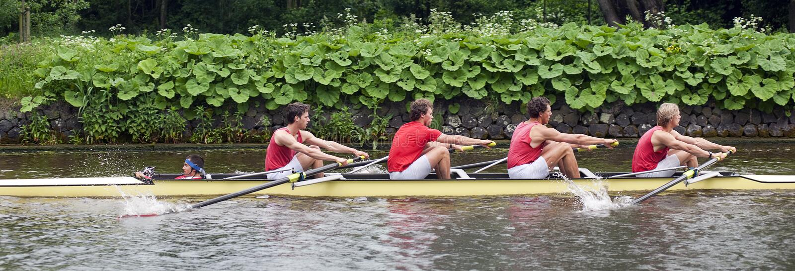 Coxed four on a canal royalty free stock photography