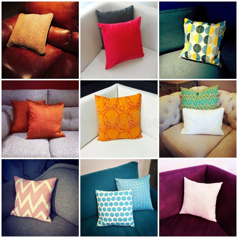 Coxins coloridos, colagem do design de interiores fotografia de stock