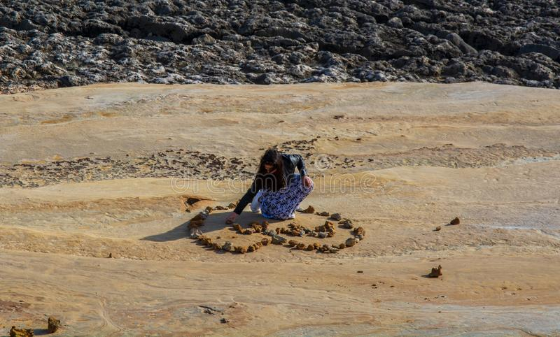 Coxos strand i Ericeira Portugal arkivfoton