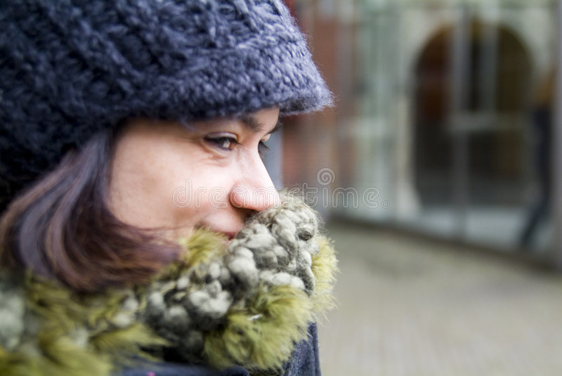 Coy Smile. Woman hiding a coy smile behind her scarf stock photo