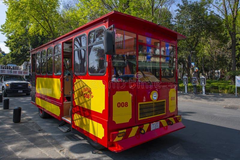 Coyoacan tour bus in Coyoacan, Mexico City. Coyoacan tour bus in historic center of Coyoacan, Mexico City CDMX, Mexico stock photo