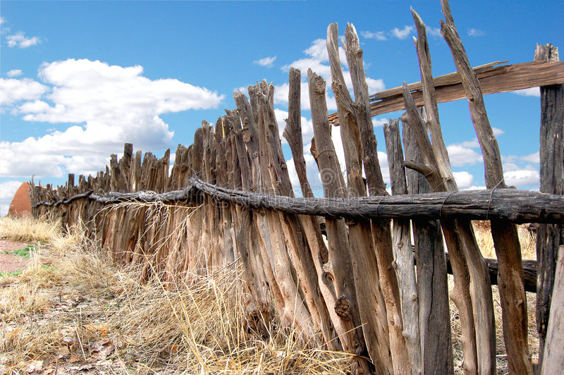 Coyote Fence. Southwestern coyote fencing constructed of found wooden sticks stock images