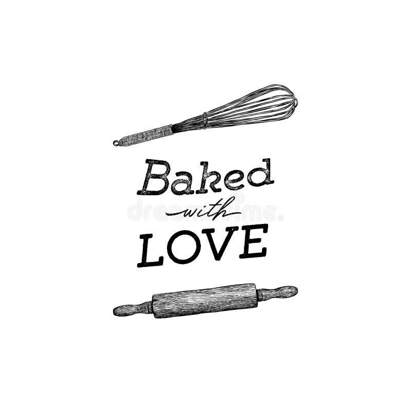 Cozido com as ferramentas da cozinha da tração da mão do amor, rotulação escrita à mão ilustração royalty free