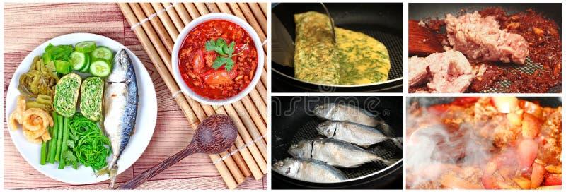 Cozimento caseiro, carne picante e mergulho do tomate, Nam Prik Ong, com prato lateral foto de stock royalty free