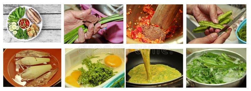Cozimento caseiro do mergulho picante da pasta do camarão como Nam Prik Kapi imagem de stock royalty free