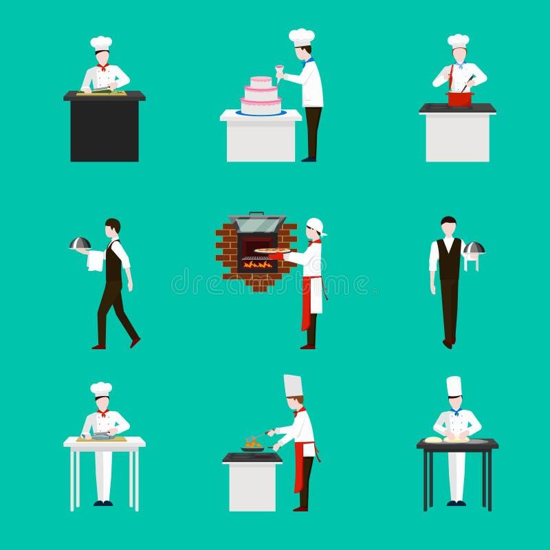 Cozimento com figuras ícones do cozinheiro chefe do vetor ajustados ilustração stock