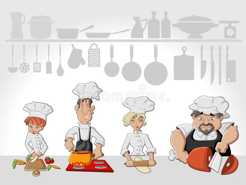 Cozimento da equipe do cozinheiro chefe ilustração do vetor