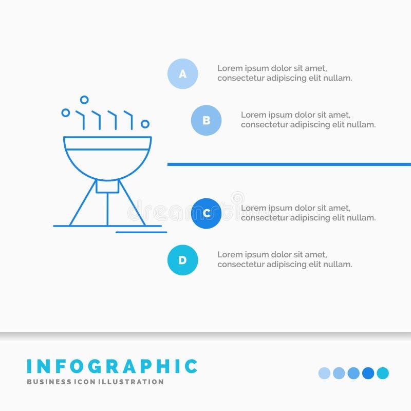 Cozimento do BBQ, acampamento, alimento, molde de Infographics da grade para o Web site e apresenta??o Linha vetor infographic do ilustração royalty free