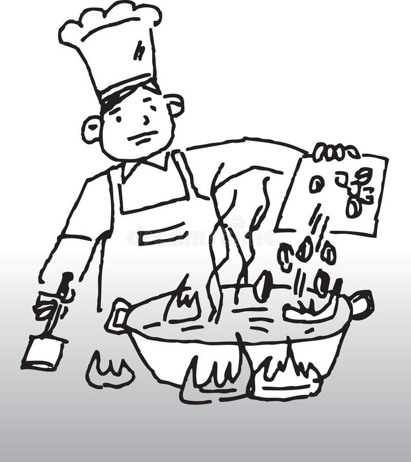 Cozimento do cozinheiro chefe ilustração do vetor