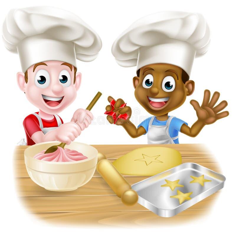 Cozimento dos cozinheiros chefe da criança dos desenhos animados ilustração stock