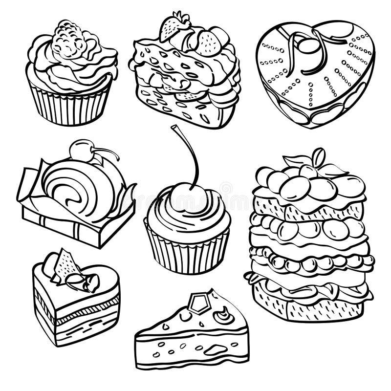Cozimento e coleção da sobremesa ilustração stock