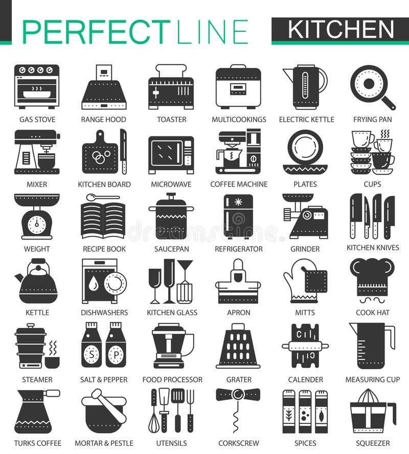 Cozimento e símbolos pretos clássicos do conceito da cozinha mini Vetor que cozinha as ilustrações modernas do pictograma do ícon ilustração stock