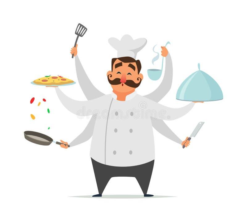 Cozimento a multitarefas do cozinheiro chefe Isolado engraçado do caráter do vetor no branco ilustração royalty free