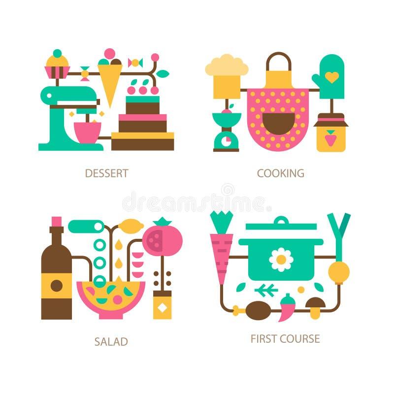 Cozimento na cozinha ilustração stock