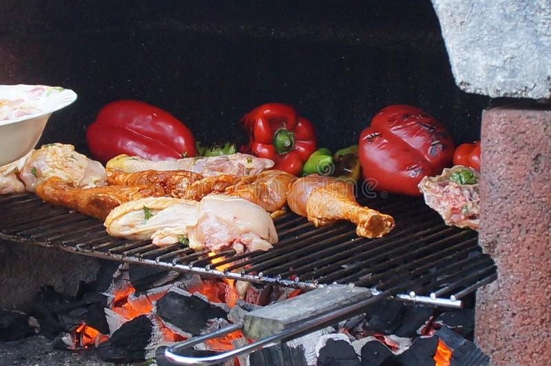 Cozimento no assado Uma refeição deliciosa no assado Pimentas e galinha roasted no assado Refeição do verão fotos de stock royalty free
