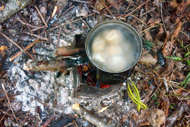 Cozimento sobre o fogo aberto no acampamento imagem de stock royalty free