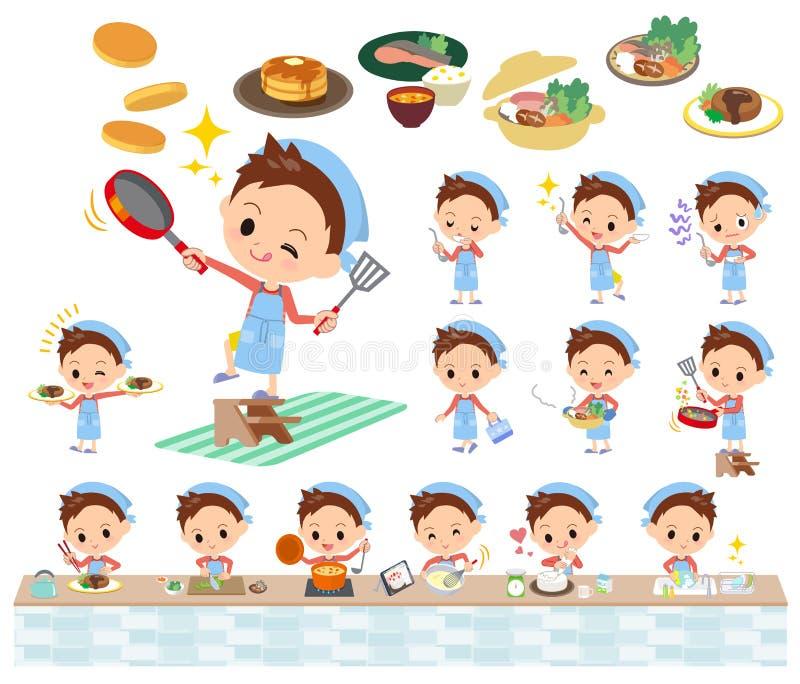Cozimento vermelho do menino do cabelo curto da roupa ilustração stock