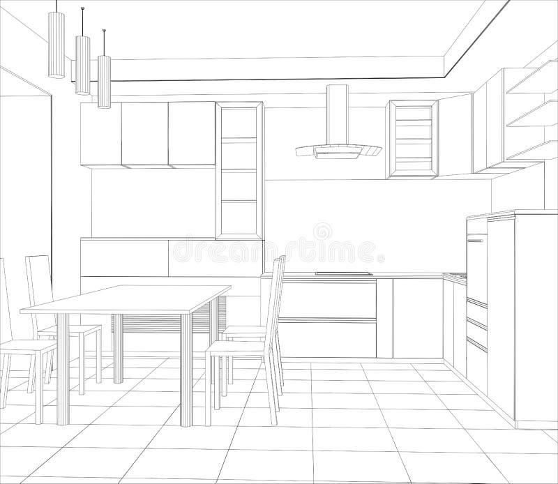 Cozinha abstrata do interior do projeto do esboço ilustração do vetor