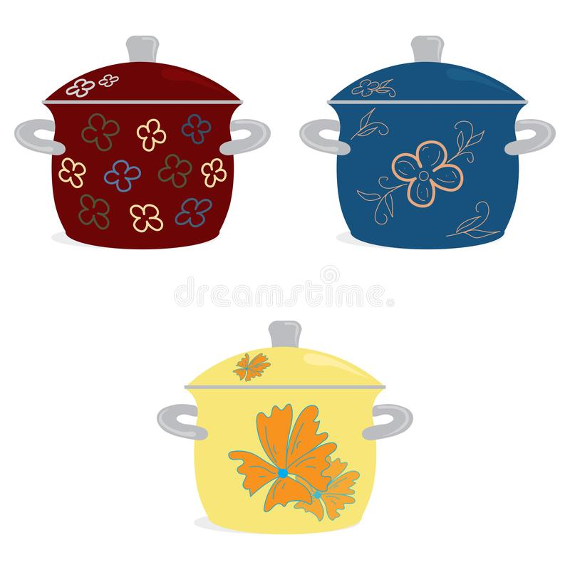 A cozinha ajustou pratos Três potenciômetros esmaltados para cozinhar o amarelo azul vermelho com um teste padrão em um fundo bra ilustração do vetor