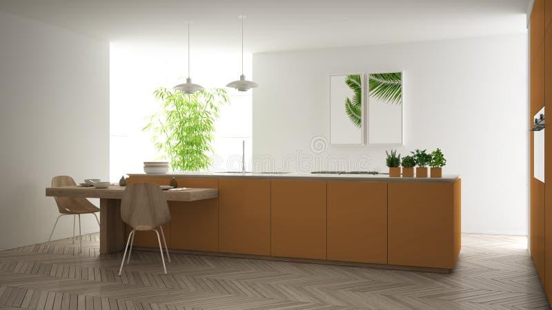 Cozinha alaranjada contemporânea limpa moderna, ilha e mesa de jantar de madeira com cadeiras, bambu e as plantas em pasta, janel ilustração stock