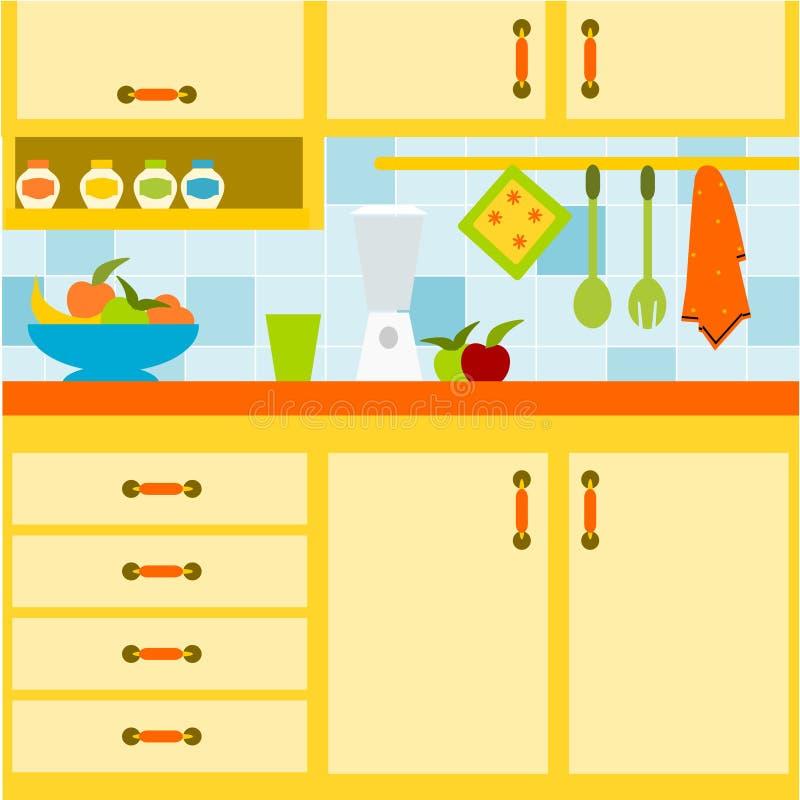 Cozinha amarela ilustração do vetor