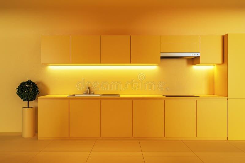 Cozinha amarela moderna ilustração royalty free