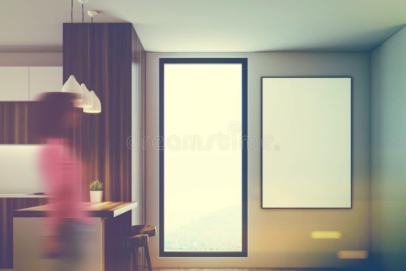 Cozinha branca de madeira, bancadas, janela, menina fotografia de stock royalty free