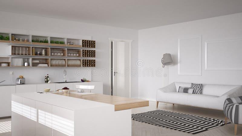 Cozinha branca escandinava, design de interiores minimalistic foto de stock