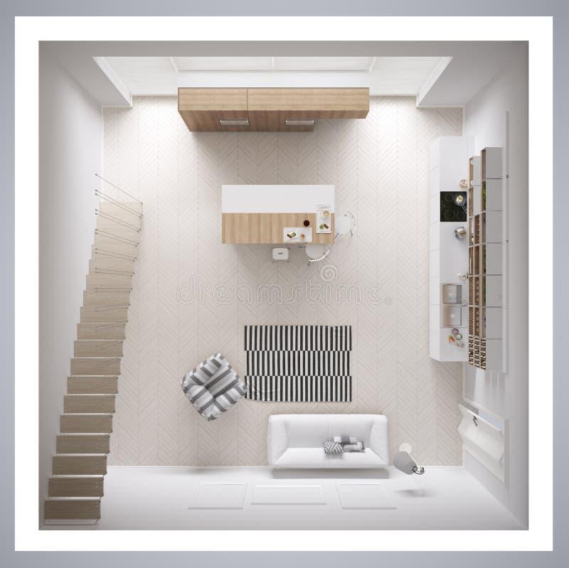 Cozinha branca escandinava, design de interiores minimalistic, cruz ilustração do vetor