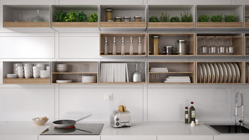Cozinha branca escandinava, sistema arquivando, minimalistic foto de stock royalty free