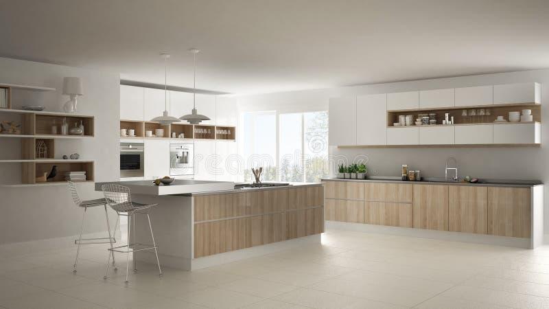 Cozinha branca moderna com os detalhes de madeira e brancos, minimalistic ilustração stock