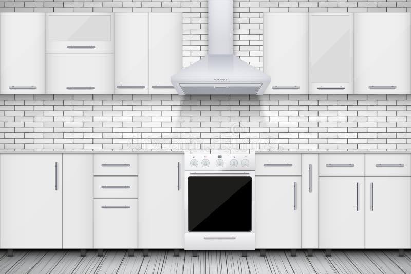Cozinha branca típica ilustração stock