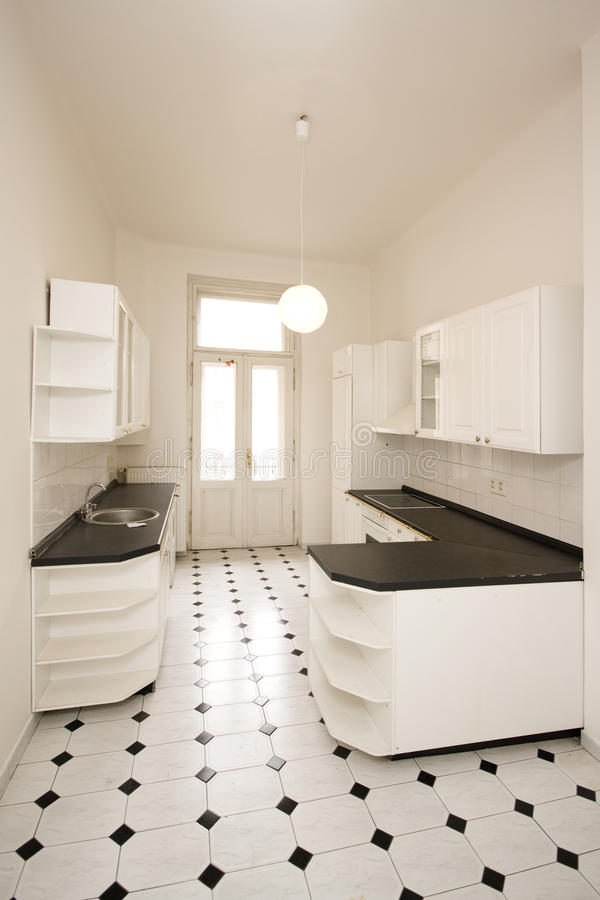 Cozinha branca vazia fotografia de stock