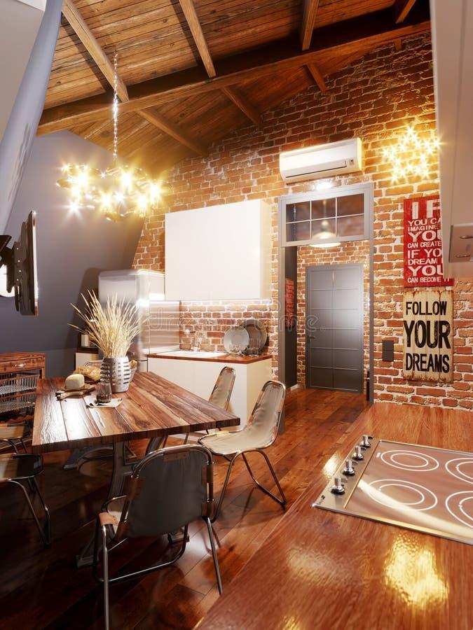 Cozinha brilhante e acolhedor no estilo do sótão no sótão ilustração stock
