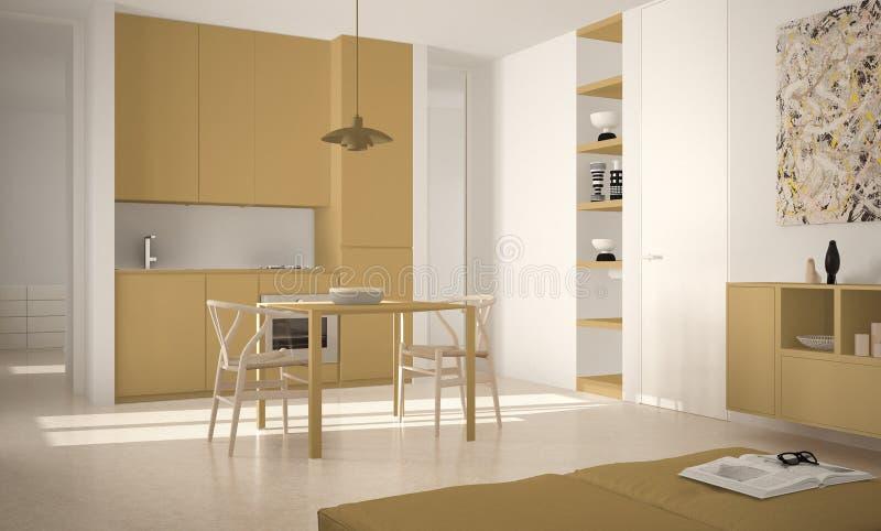 Cozinha brilhante moderna minimalista com mesa de jantar e cadeiras, interior grande das janelas, o branco e o amarelo da arquite ilustração stock