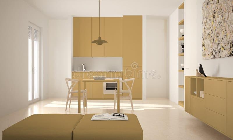 Cozinha brilhante moderna minimalista com mesa de jantar e cadeiras, interior grande das janelas, o branco e o amarelo da arquite ilustração do vetor