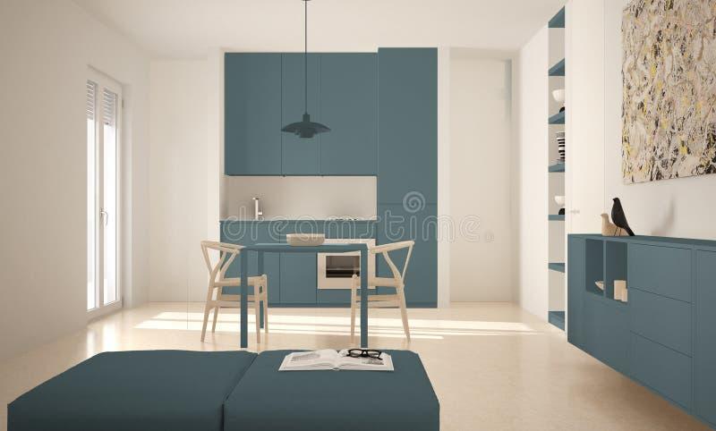 Cozinha brilhante moderna minimalista com mesa de jantar e cadeiras, interior grande das janelas, o branco e o azul da arquitetur ilustração stock